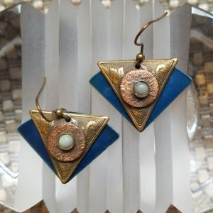 Cool vintage copper, brass and moonstone earrings